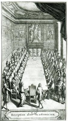 Reception of an Member of the French Academy, engraved by Francois Poilly