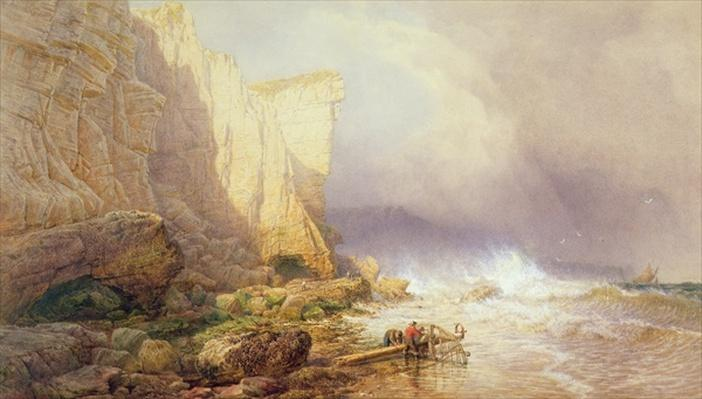 Stormy Weather, Clearing Seaton Cliffs, South Devon, 19th century
