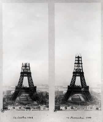 Two views of the construction of the Eiffel Tower, Paris, 14th October and 14th November 1888