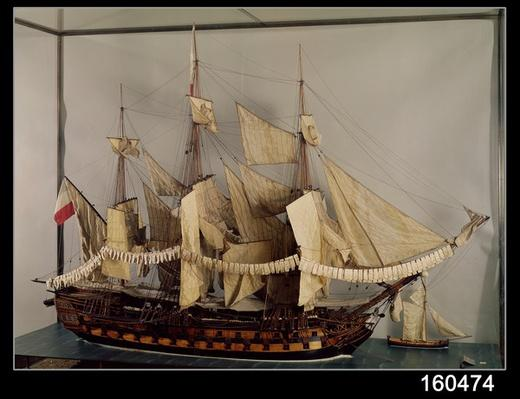 Model of the ship 'L'Achille', a 74 gun ship built at Rochefort