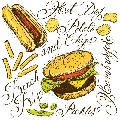 Fast food with calligraphy | Health and Nutrition