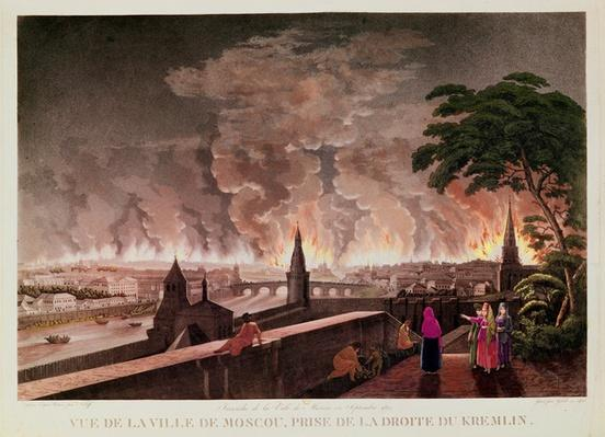 Fire in Moscow, September 1812. engraved by Gibele, 1816