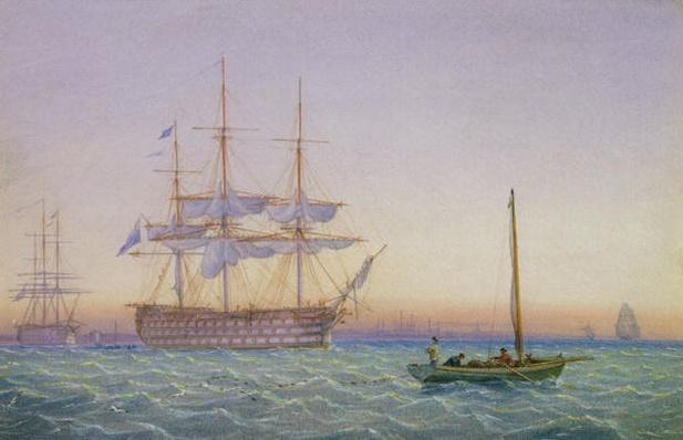 H.M. Frigates at Anchor