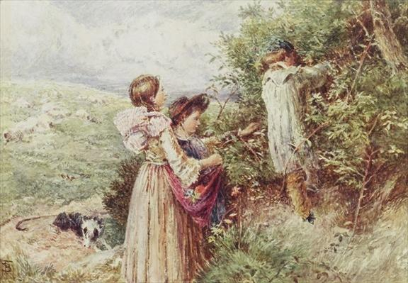 Children picking blackberries, 19th century