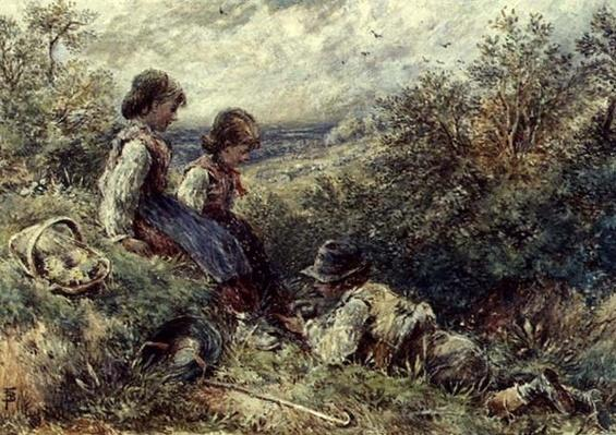 Children collecting eggs, 19th century