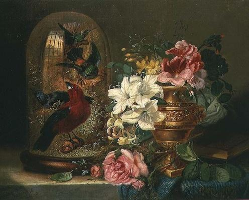 Still Life with Flowers and Birds