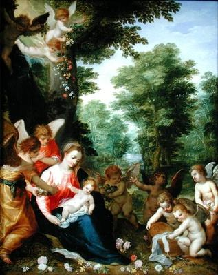Madonna and Child with Angels in a Landscape