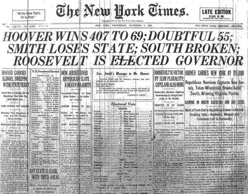 New York Times Headline: Hoover Wins Election | Ken Burns: Prohibition