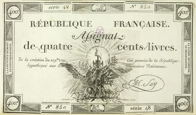 Four hundred livre banknote, 21st September 1792