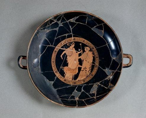 Interior of an attic red-figure cup depicting Apollo and Artemis, c.495-490 BC