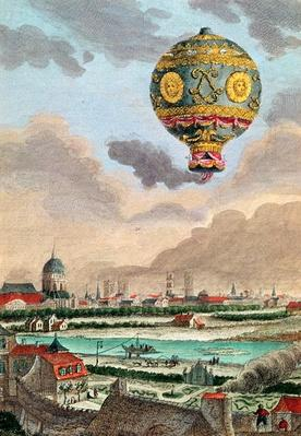 View from the terrace of Monsieur Franklin at Passy of the first flight under the direction of Monsieur de Montgolfier, 21st November 1783