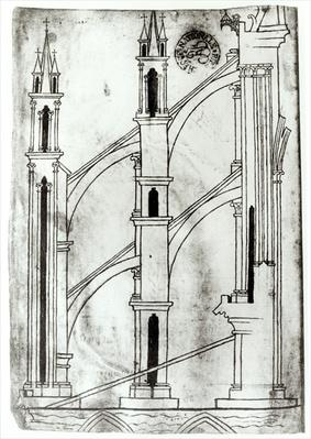 Ms Fr 19093 f.32v Section of the wall and arch of the absidial chapels of Reims Cathedral