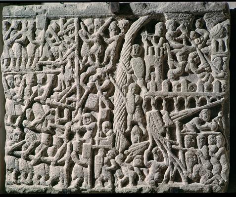 Relief depicting the Siege of Carcassonne by Simon de Montfort
