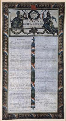 Table of the Declaration of the Rights of Man and the Citizen