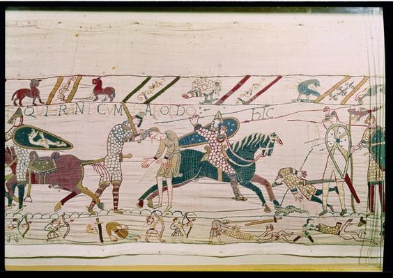 Here the French are Fighting and Killing Harold's Men, detail from the Bayeux Tapestry, before 1082