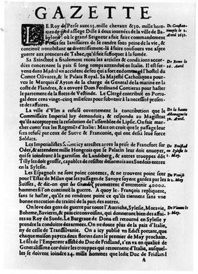 Page of text from 'La Gazette' describing the siege of a town near Babylon by the King of Persia, 1632