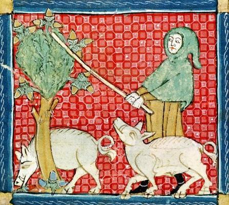 Fol.59v November: Gathering Acorns
