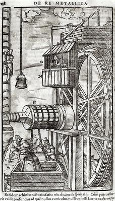 Winch for getting water from a mine, illustration from 'De Re Metallica' by Georg Bauer