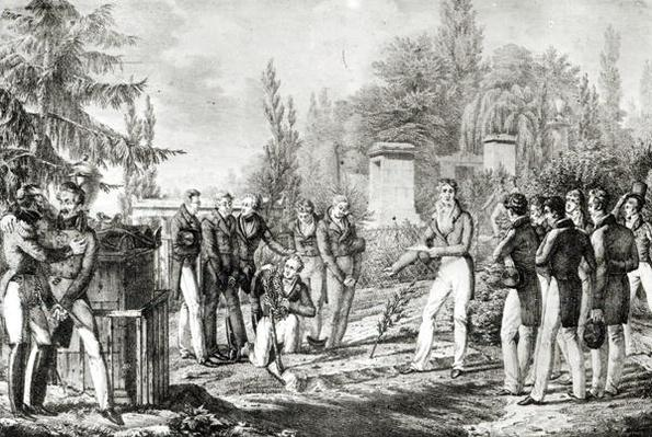 Students from the Ecole Polytechnique at the tomb of Gaspard Monge