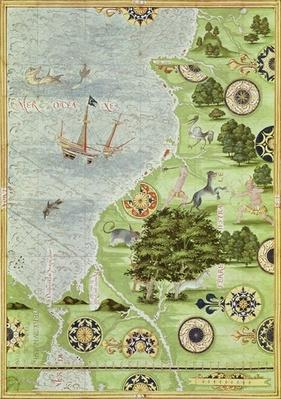 Fol.39v Map of the Magellan Straits, from 'Cosmographie Universelle', 1555