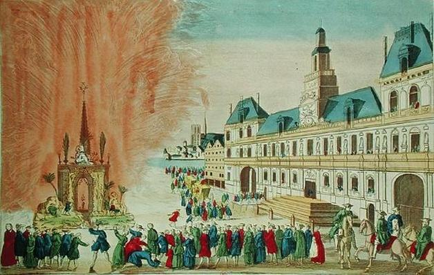 Fireworks in front of the Hotel de Ville in Paris celebrating the Peace of Versailles, 1783