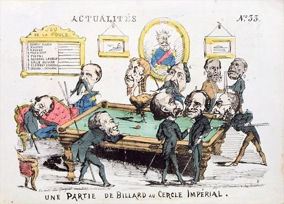 'Une Partie de Billard au Cercle Imperial', caricature of Second Empire society, issue 33 of 'Actualites', 1870