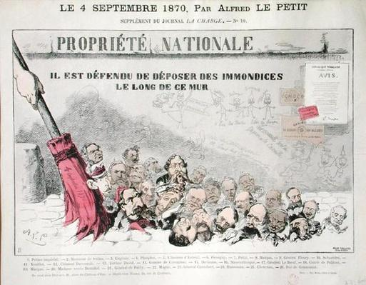 'Defense de deposer des immondices le long de ce mur', caricature of Second Empire politicians, from 'La Charge', 4th September 1870