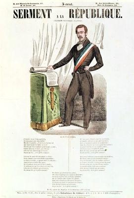 Illustrated lyric sheet for 'Serment a la Republique', c.1848-52
