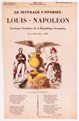 Illustrated lyric sheet for 'Le Suffrage Universel, Louis-Napoleon proclame president de la Republique francaise', 1848