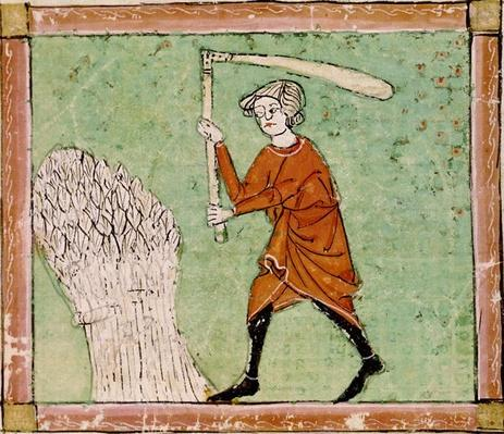 Fol.59r August: Threshing Wheat