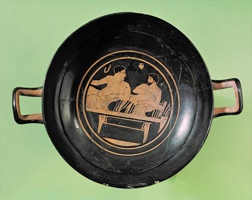 Interior view of an attic red figure cup depicting a man and an ephebe in conversation, from Orvieto, c.420 BC