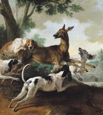 A Deer Chased by Dogs, 1725