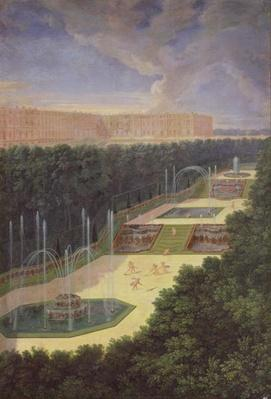 The Groves of Versailles, Perspective View of the Three Fountains with Cherubs Raking and Watering, 1688