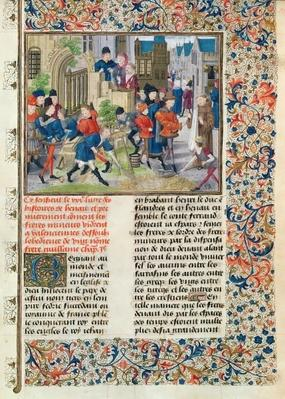 Ms 149 t.3 f.235 Building the Foundations of the Monastery of the Minors at Valenciennes, from the 'Histoire des Nobles Princes de Hainaut', by Jacques de Guise
