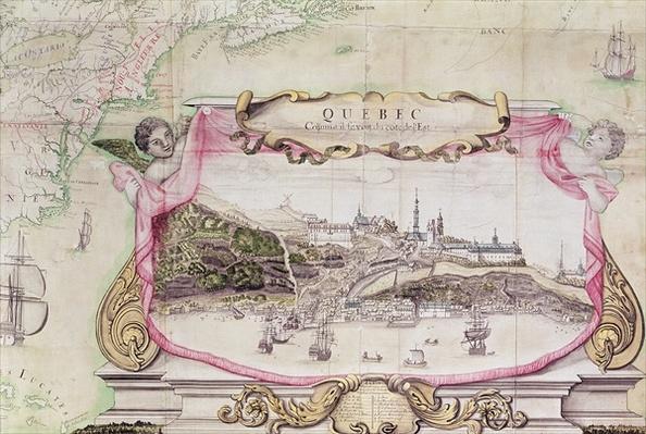 Cartouche of Quebec from 'Carte de l'Amerique Septentrionale', 1688
