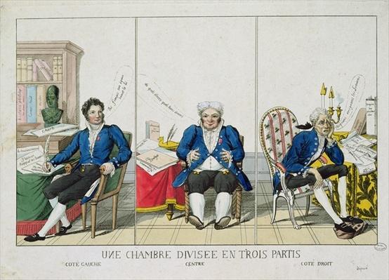 La Chambre Divisee en Trois Partis, caricature of the National Assembly, 1819