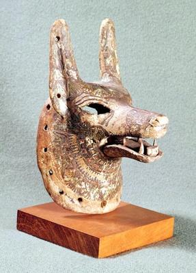 Head of Anubis, with a hinged jaw, used as an oracle mask, New Kingdom