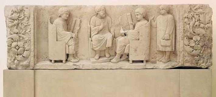 Relief depicting a school scene, from Neumagen