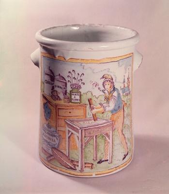 Tobacco pot depicting a tobacconist, Bordeaux workshop