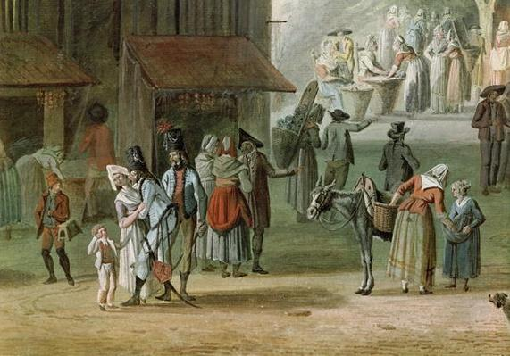 The Place de l'Apport-Paris in Front of the Grand-Chatelet, detail of people from the left hand side, before 1802
