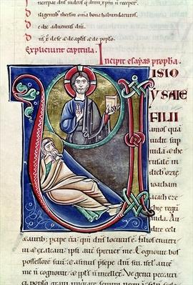 Ms 3 Historiated initial 'V' or 'U' depicting the Prophecy of Isaiah, from the Bible of St. Sulpicius of Bourges
