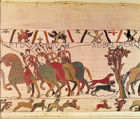 Count Guy of Ponthieu takes Harold, his prisoner, to the castle of Beaurain, detail from the Bayeux Tapestry, before 1082