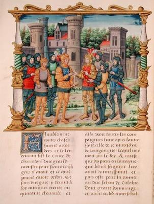 Ms 18 f.32v The Treaty of Conflans between Louis XI and Charles the Bold, Duke of Burgundy, October 1465, from the Memoirs of Philippe of Commines