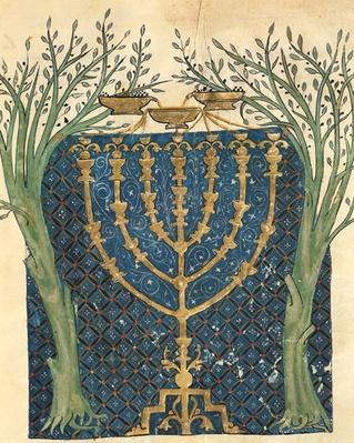 Illumination of a menorah, from the Jewish Cervera Bible, 1299