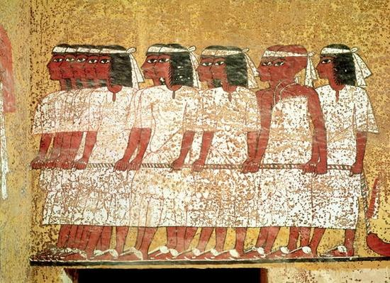 Cortege pulling the King's catafalque, from the Tomb of Tutankhamun