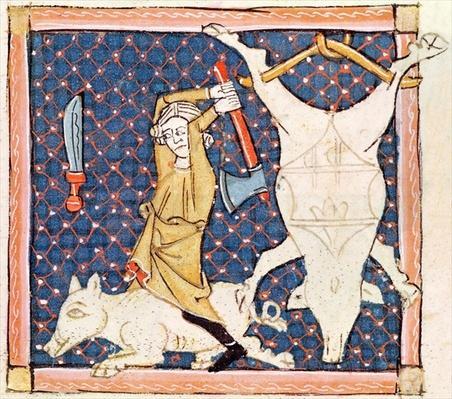 Fol.59v December: Killing Pigs
