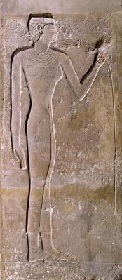 Pillar depicting a woman smelling a lotus flower, Old Kingdom, 2423-2263 BC
