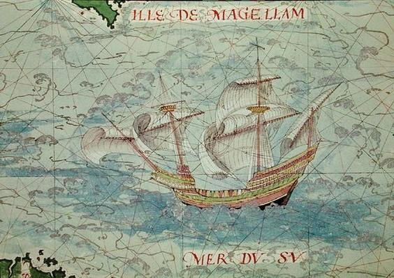 F.41v A Caravel, detail from 'Cosmographie Universelle', 1555