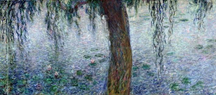 Waterlilies: Morning with Weeping Willows, detail of the right section, 1915-26