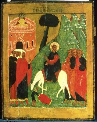 Icon depicting Christ's Entry into Jerusalem